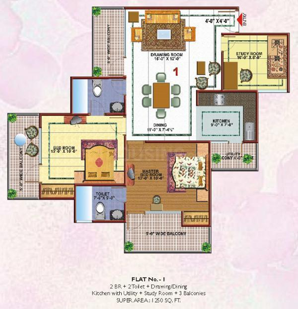 Skytech Merion Residency II Floor Plan: 2 BHK Unit with Built up area of 1250 sq.ft 1