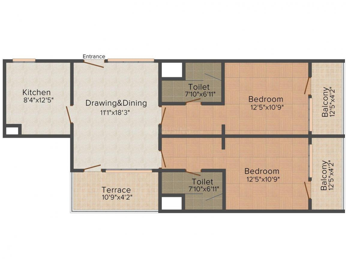 Simula Paradise Avenue Floor Plan: 2 BHK Unit with Built up area of 1250 sq.ft 1