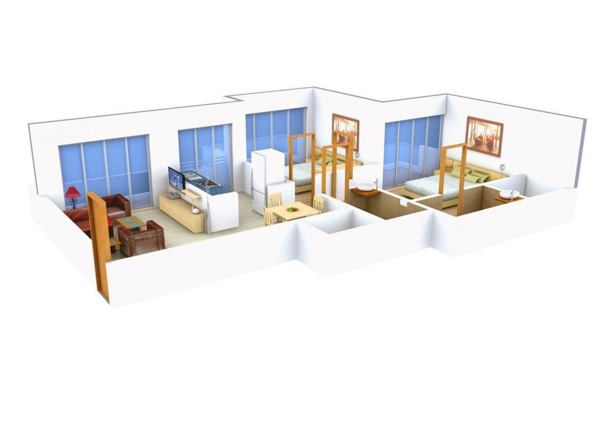 Floor Plan Image of 0 - 1050.0 Sq.ft 2 BHK Apartment for buy in Om Sai Riddhi Siddhi Sai Dham