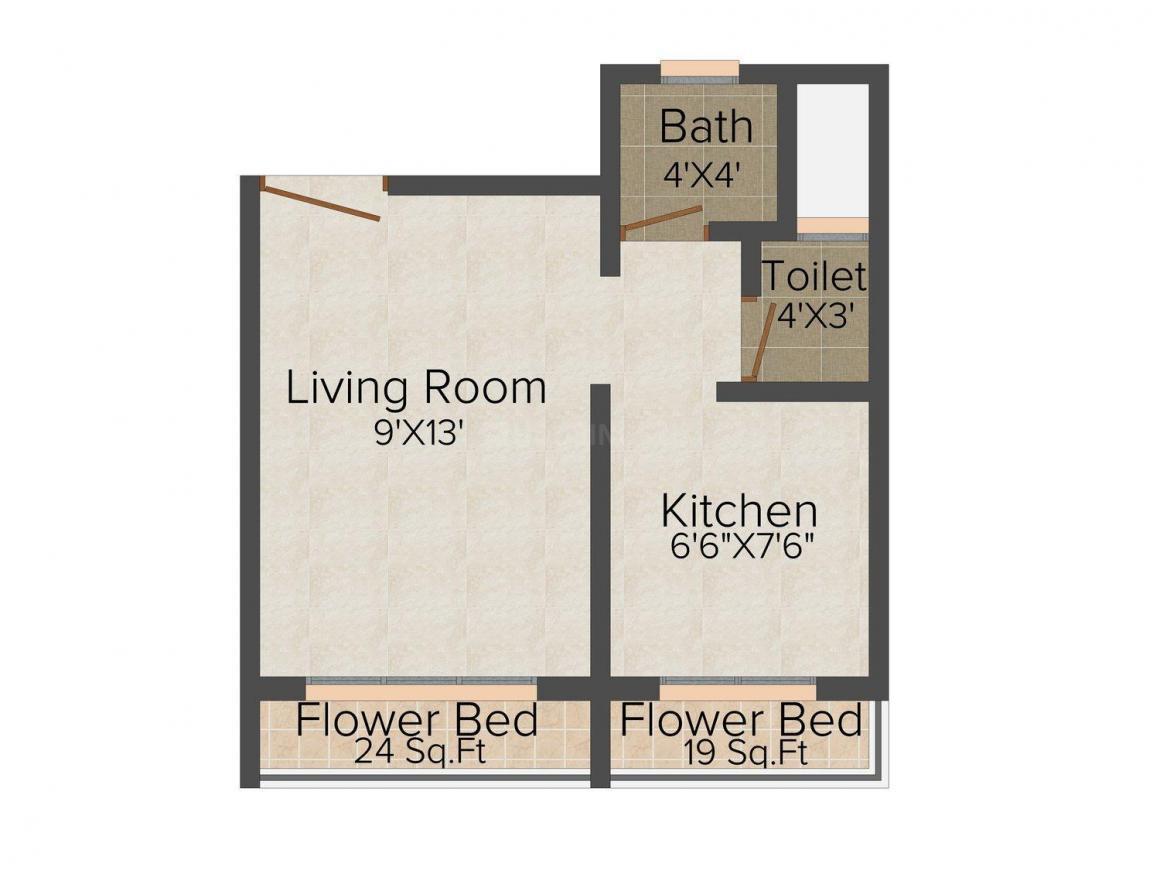 Floor Plan Image of 239.0 - 449.0 Sq.ft 1 RK Apartment for buy in Om Sai Ram Sai Sakshat