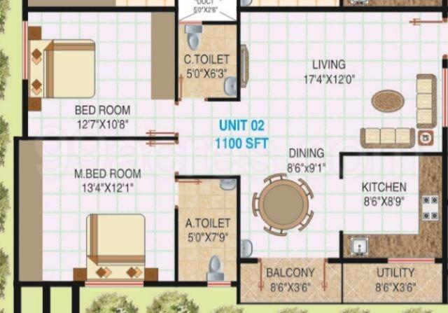 Floor Plan Image of 1100.0 - 1490.0 Sq.ft 2 BHK Apartment for buy in Karthik Homes