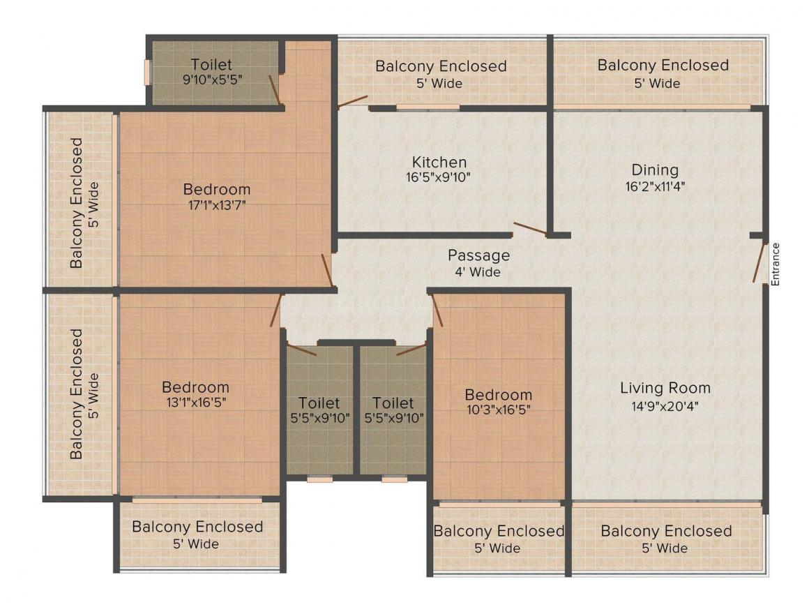 Floor Plan Image of 2475.0 - 3702.0 Sq.ft 3 BHK Apartment for buy in Kamat Vision