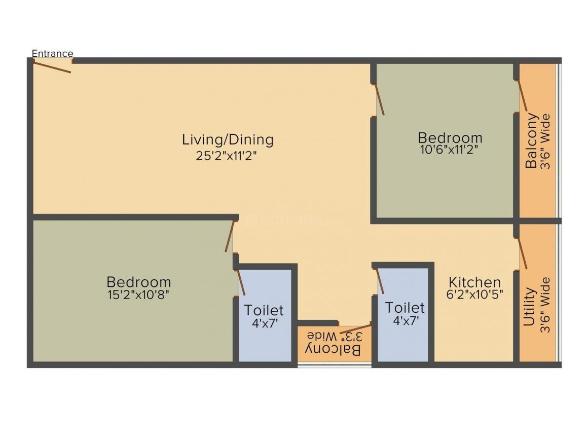 Floor Plan Image of 544.0 - 771.0 Sq.ft 2 BHK Apartment for buy in Sai Sarovar