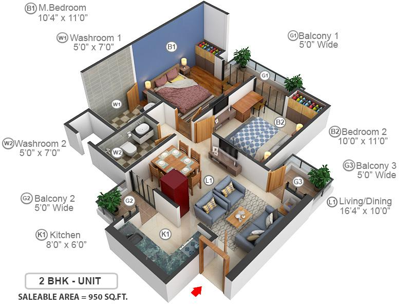 Nirala Greenshire Floor Plan: 2 BHK Unit with Built up area of 950 sq.ft 1