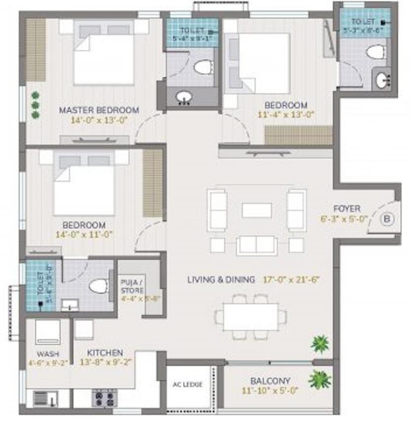 Arihant Vihaana Floor Plan: 3 BHK Unit with Built up area of 1855 sq.ft 1