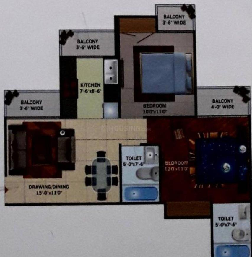 GOLF CITY Floor Plan: 2 BHK Unit with Built up area of 950 sq.ft 1