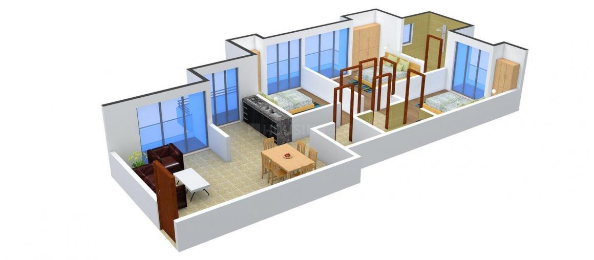 Prateek Wisteria Floor Plan: 3 BHK Unit with Built up area of 1385 sq.ft 1