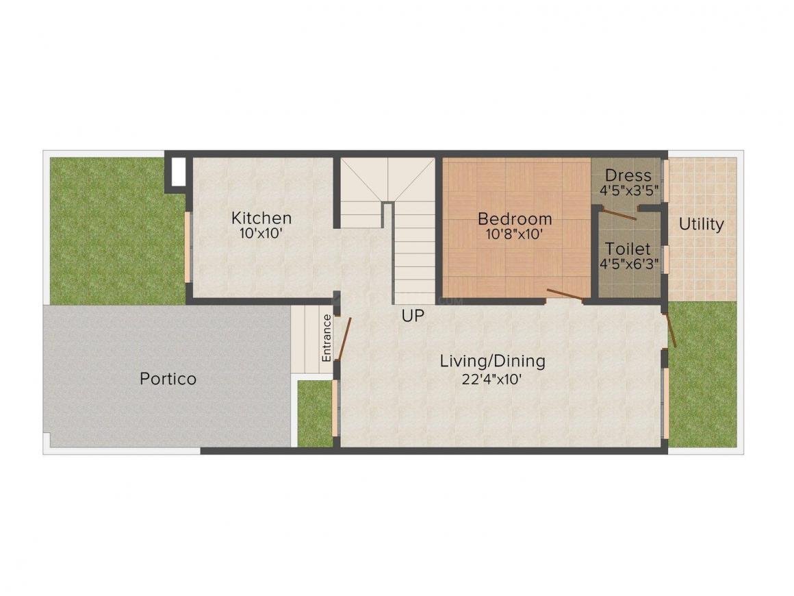 Modi Villa Orchids Floor Plan: 3 BHK Unit with Built up area of 1585 sq.ft 2