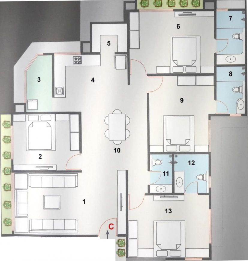 Anthem Kshama CHSL Floor Plan: 4 BHK Unit with Built up area of 1347 sq.ft 1