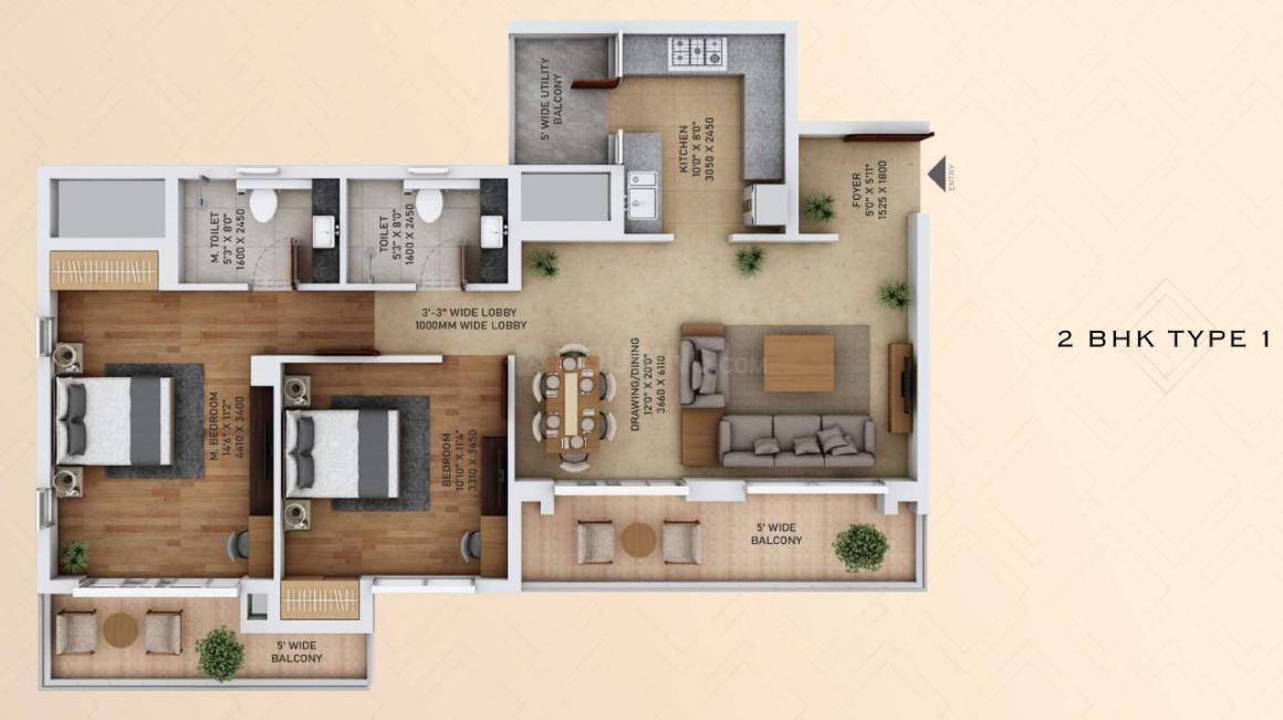 Star Ace Starlit Floor Plan: 2 BHK Unit with Built up area of 804 sq.ft 1
