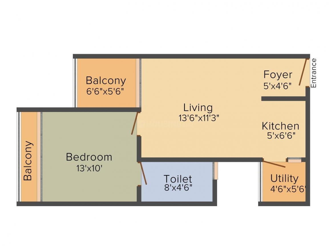 Bhavansh Castle Floor Plan: 1 BHK Unit with Built up area of 604 sq.ft 1