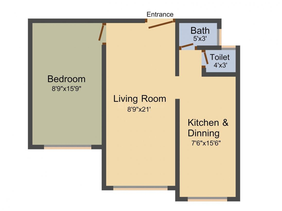 Navnirmiti Florence Complex Floor Plan: 1 BHK Unit with Built up area of 585 sq.ft 1