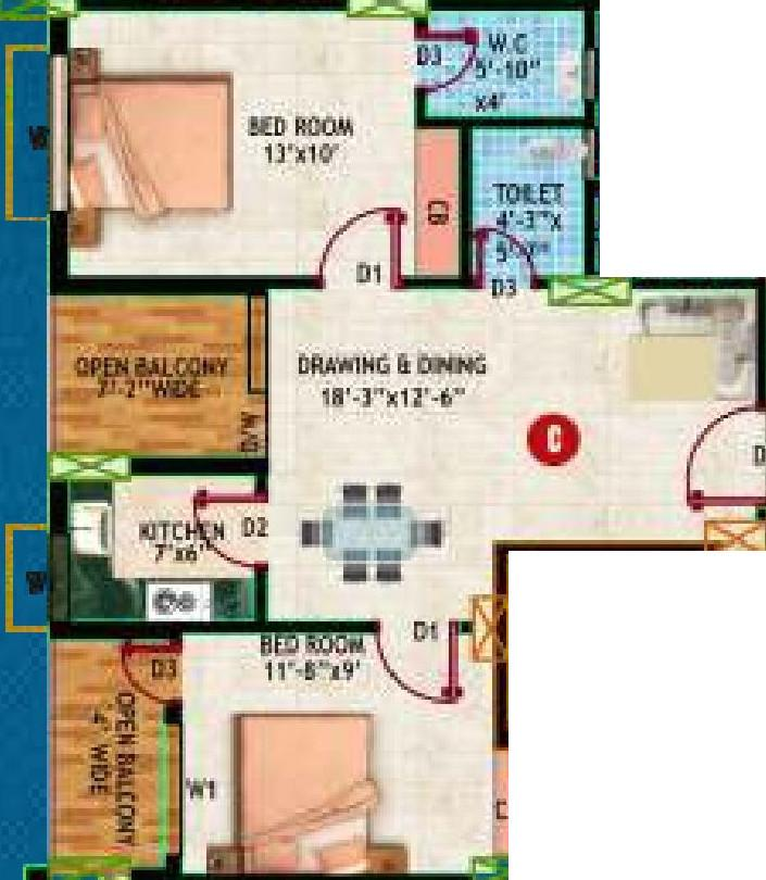 Ashiyana Society Durgapur Floor Plan: 2 BHK Unit with Built up area of 925 sq.ft 1