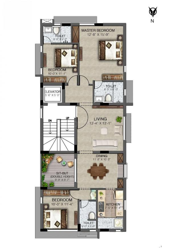 Kaaviya Magima Floor Plan: 3 BHK Unit with Built up area of 1618 sq.ft 1