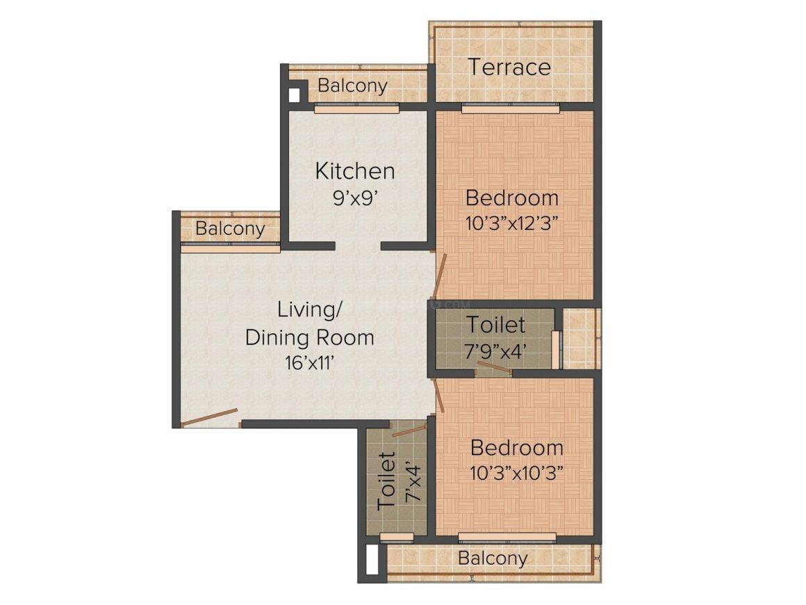 Floor Plan Image of 685 - 1103 Sq.ft 1 BHK Apartment for buy in Keystone Keystone Arista
