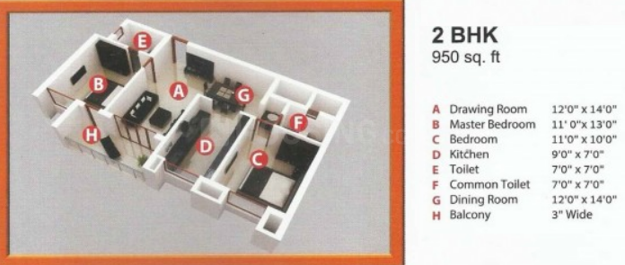 Divine Delhi Awas Yojna Floor Plan: 2 BHK Unit with Built up area of 950 sq.ft 1
