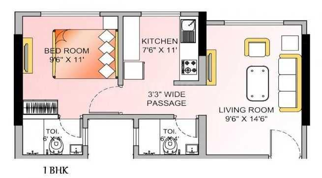 Om Ashoka Heights Floor Plan: 1 BHK Unit with Built up area of 392 sq.ft 1