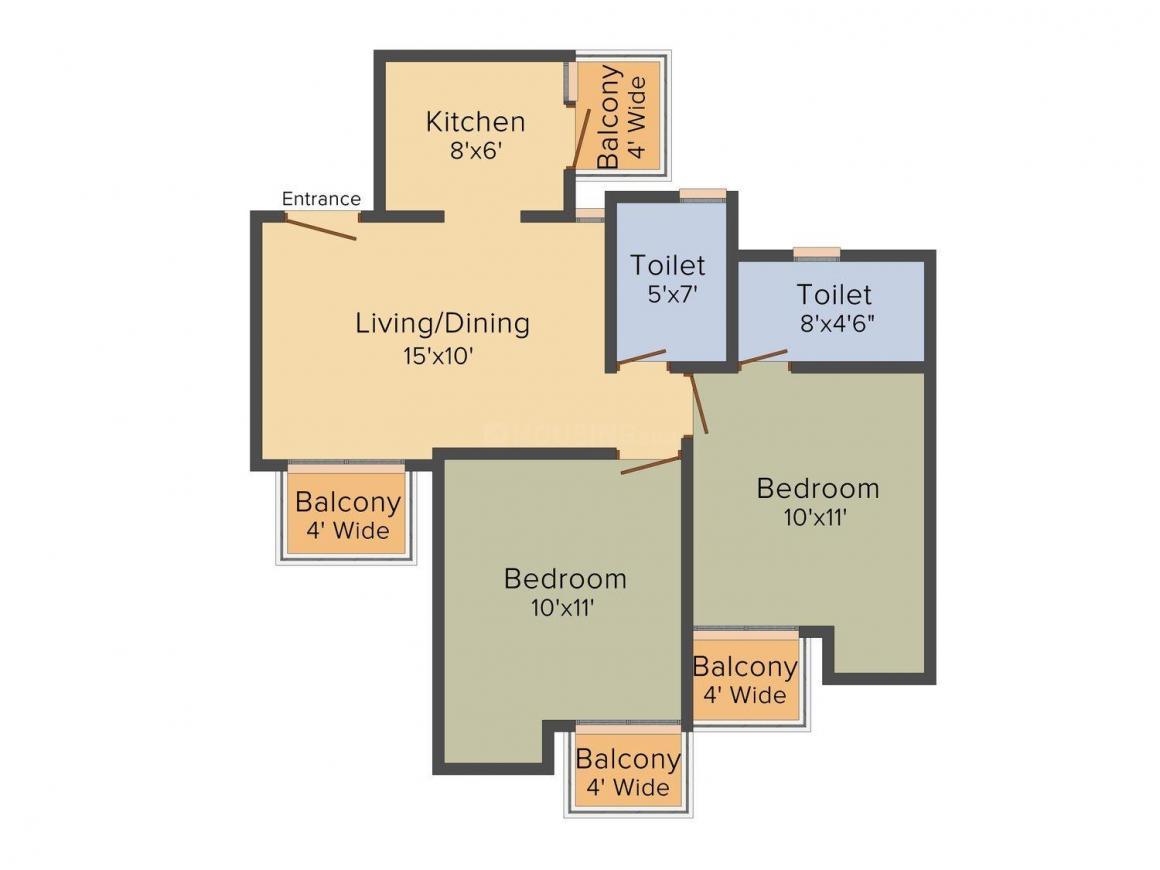 Ajnara Khel Gaon Floor Plan: 2 BHK Unit with Built up area of 895 sq.ft 1