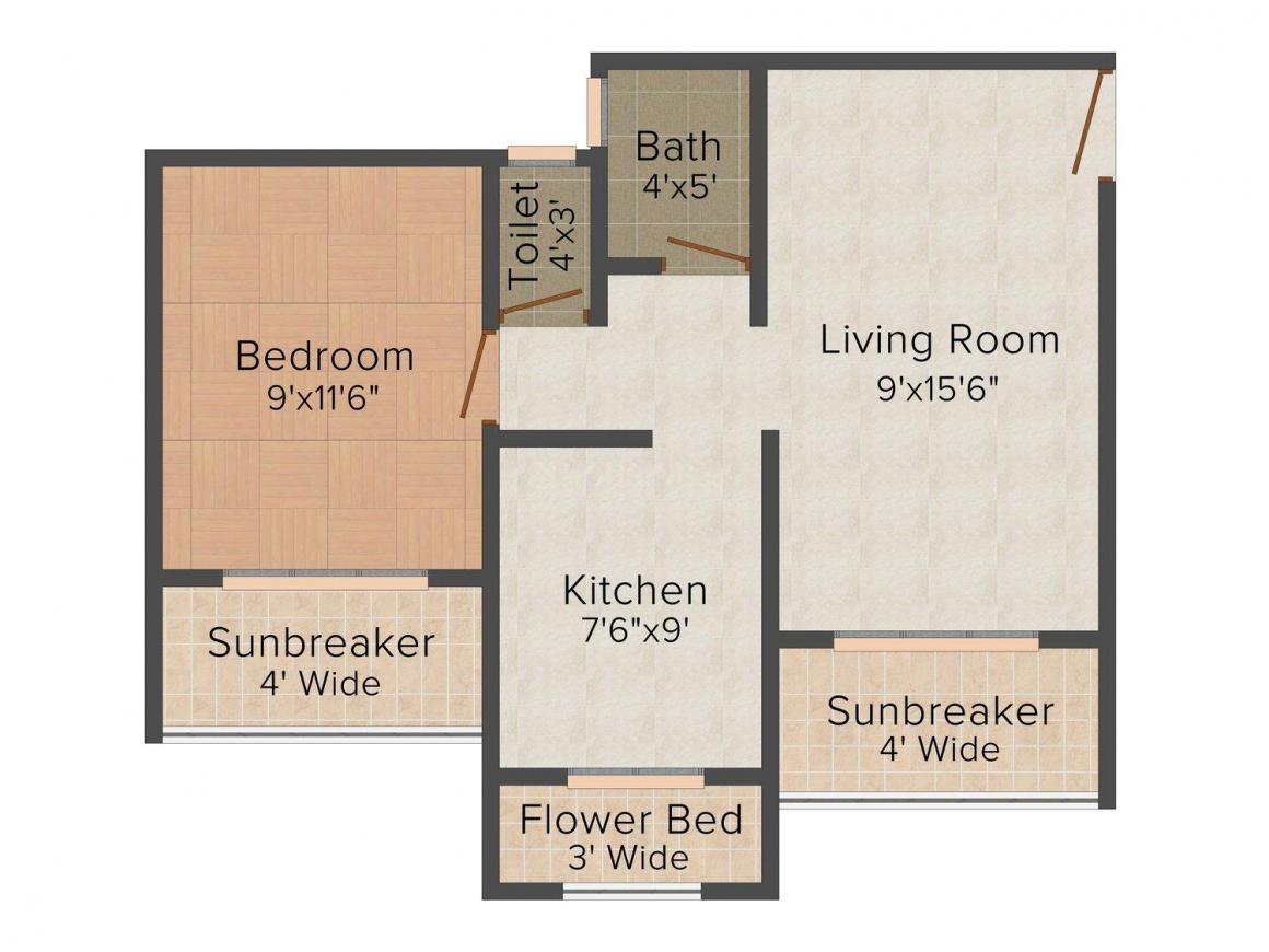 Floor Plan Image of 665.0 - 945.0 Sq.ft 1 BHK Apartment for buy in Shagun Jalaram Dhaam