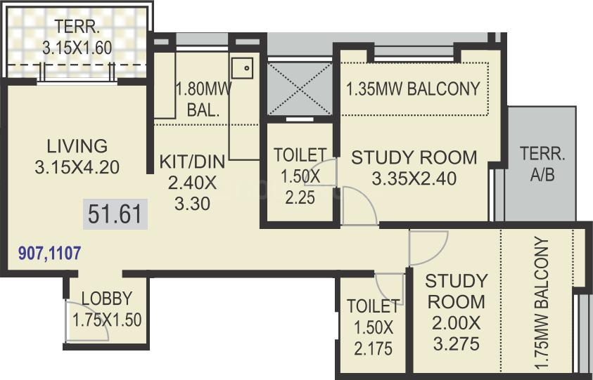 Floor Plan Image of 450.58 - 665.64 Sq.ft 1 BHK Apartment for buy in