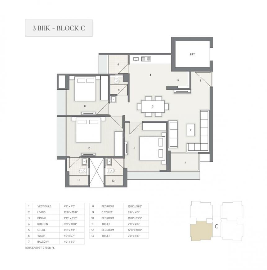Satyam Skyline II Floor Plan: 3 BHK Unit with Built up area of 1672 sq.ft 1