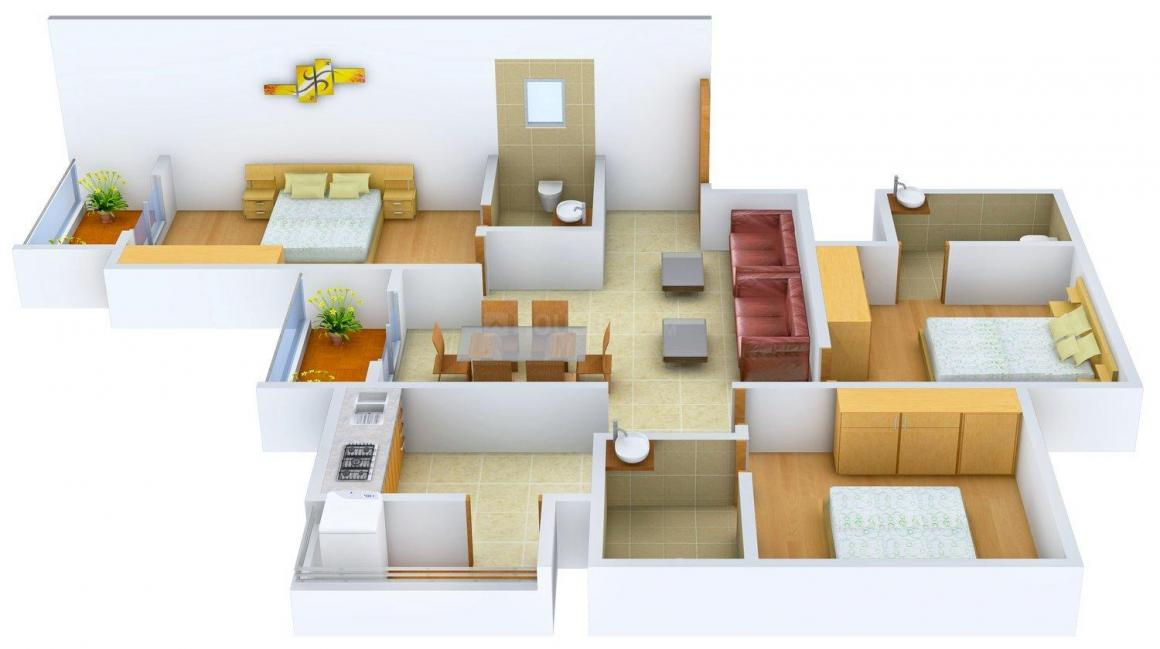Floor Plan Image of 1156.0 - 1663.0 Sq.ft 2 BHK Apartment for buy in Confident Aquila