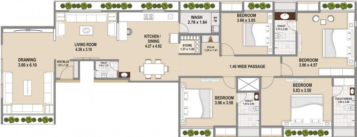 Pushti Bhagwat Altimus Floor Plan: 4 BHK Unit with Built up area of 1703 sq.ft 1