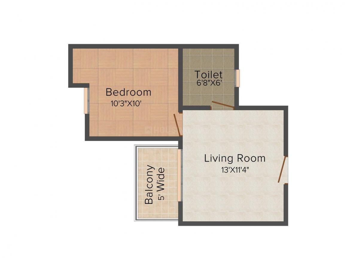 Supertech Golf Suites Floor Plan: 1 BHK Unit with Built up area of 590 sq.ft 1