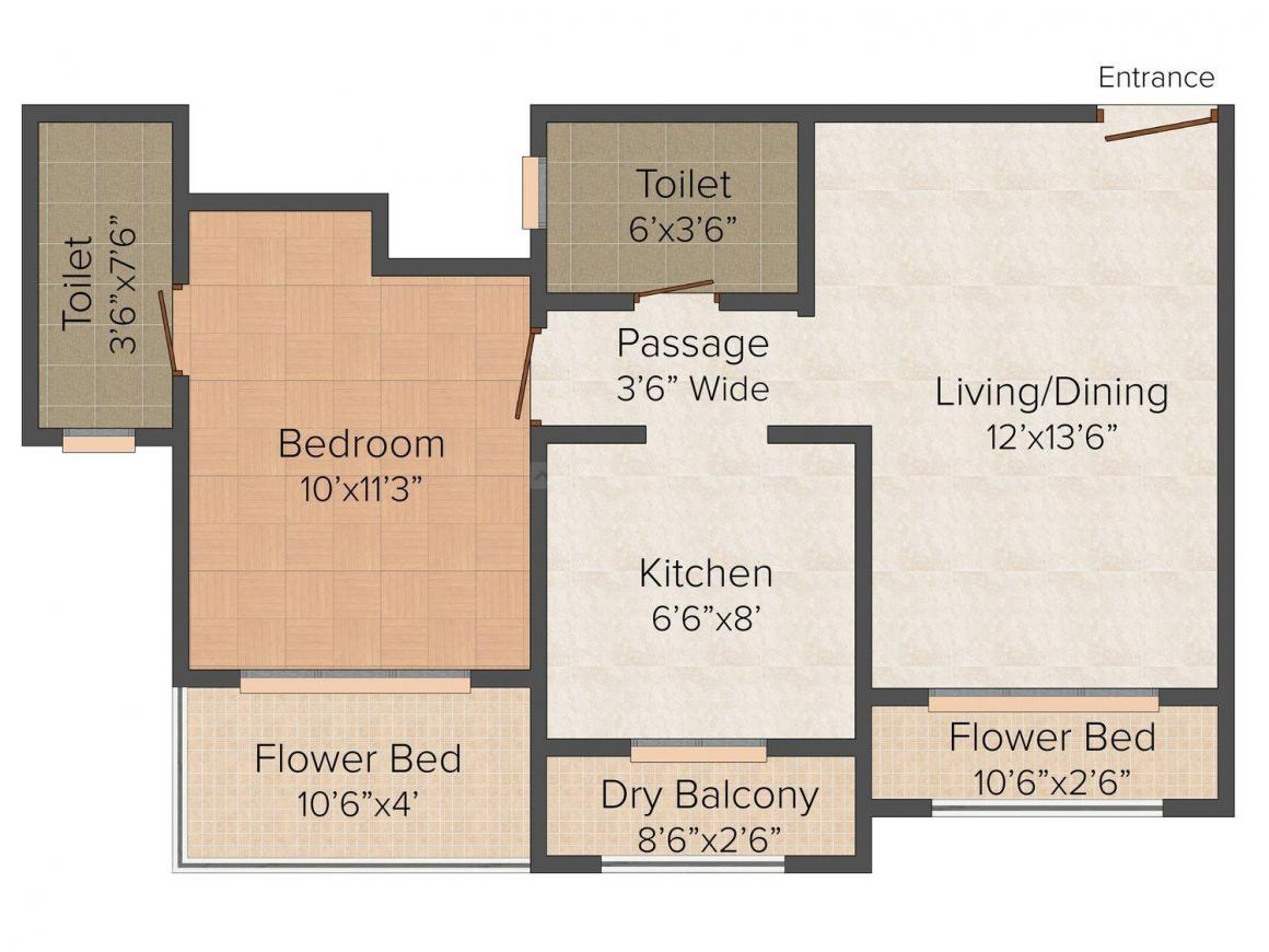 Floor Plan Image of 665.0 - 950.0 Sq.ft 1 BHK Apartment for buy in Buddha Ozone II