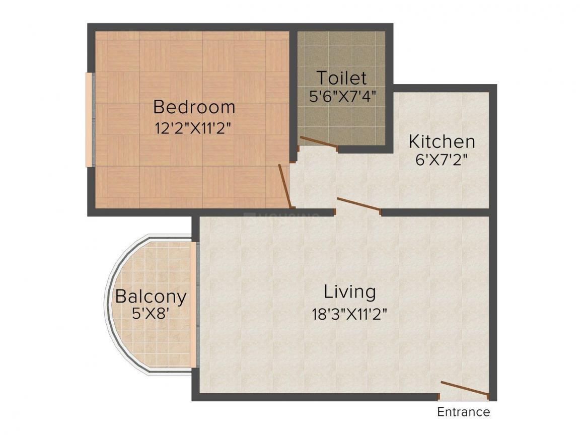 Floor Plan Image of 0 - 675 Sq.ft 1 BHK Apartment for buy in Hari Om Shagun