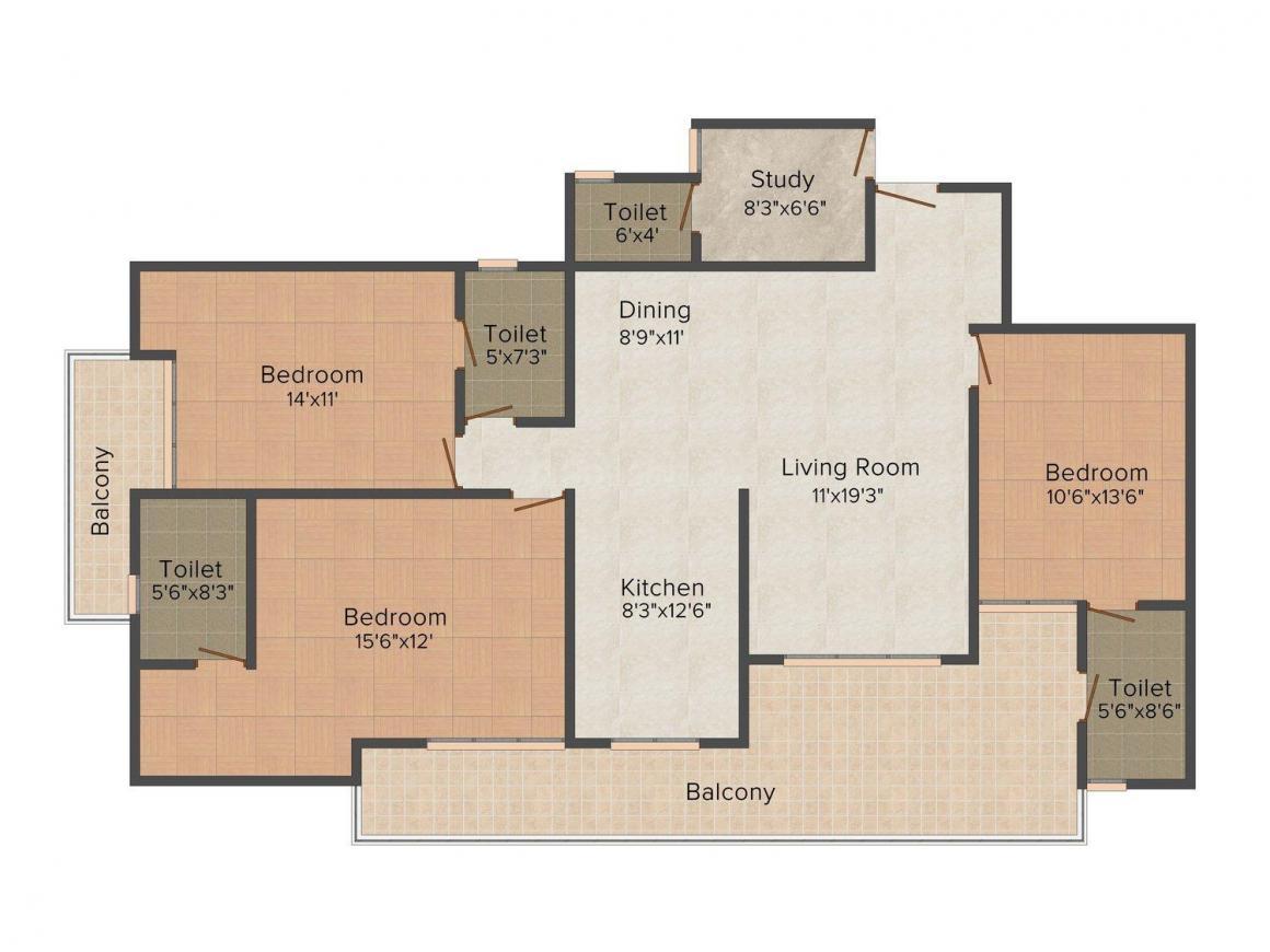 Floor Plan Image of 0 - 2050.0 Sq.ft 3.5 BHK Apartment for buy in Maxblis Grand Kingston