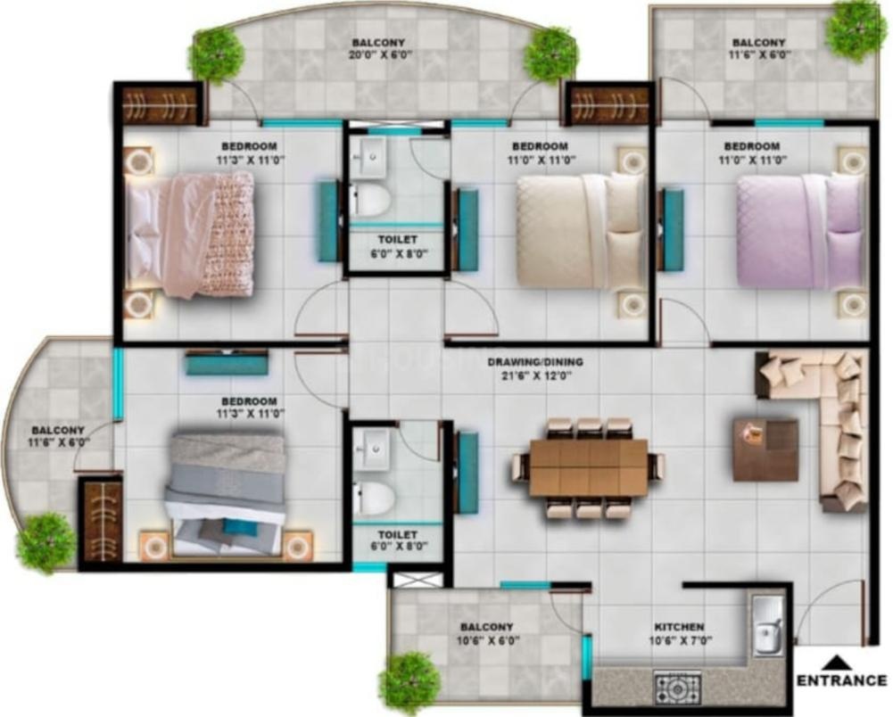 ABC Adore Business City Floor Plan: 4 BHK Unit with Built up area of 1800 sq.ft 1