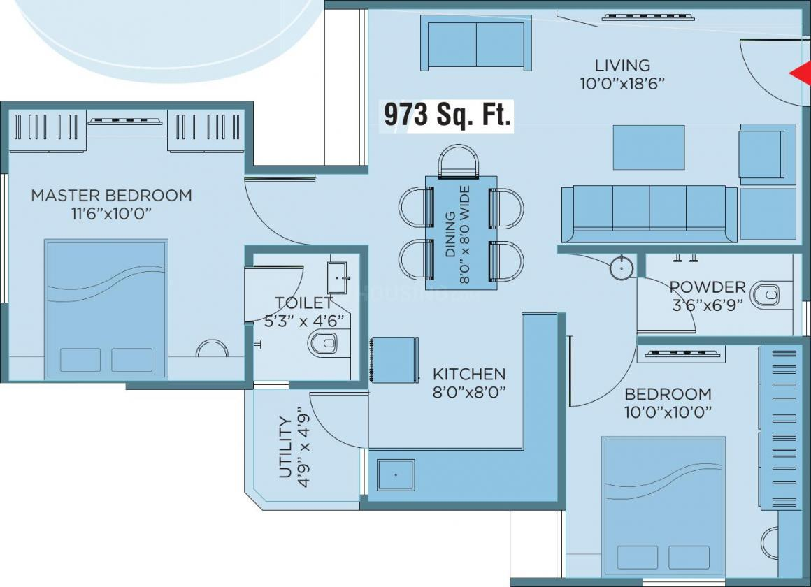 Yash Pinnacle Floor Plan: 2 BHK Unit with Built up area of 973 sq.ft 1