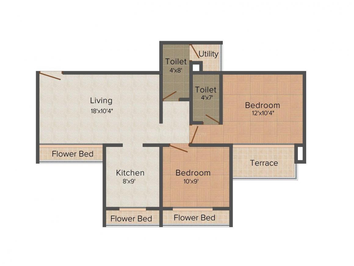 Floor Plan Image of 0 - 840.0 Sq.ft 2 BHK Apartment for buy in Ashtavinayak Sai Regency