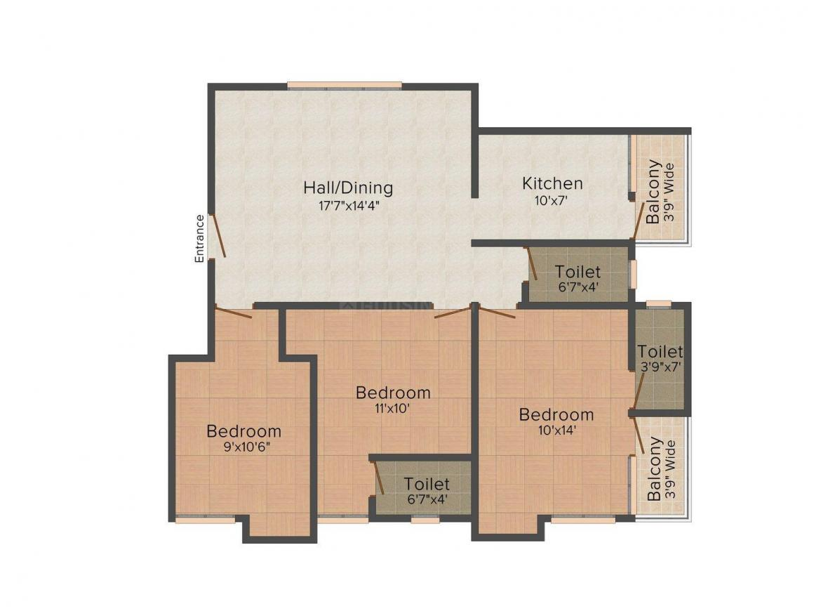 Floor Plan Image of 0 - 1337.0 Sq.ft 3 BHK Apartment for buy in Lakshmi Karthikeyapuram