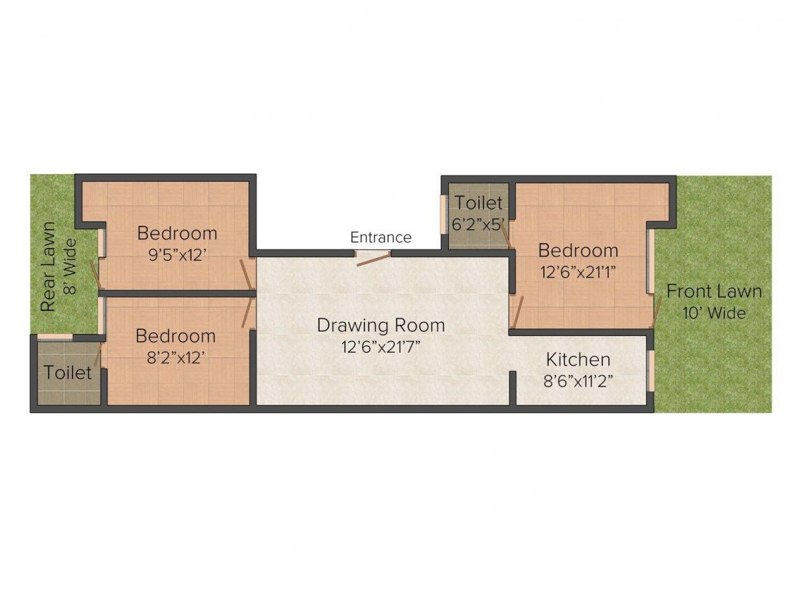 Floor Plan Image of 0 - 1350.0 Sq.ft 3 BHK Independent Floor for buy in V. P. Homes 43