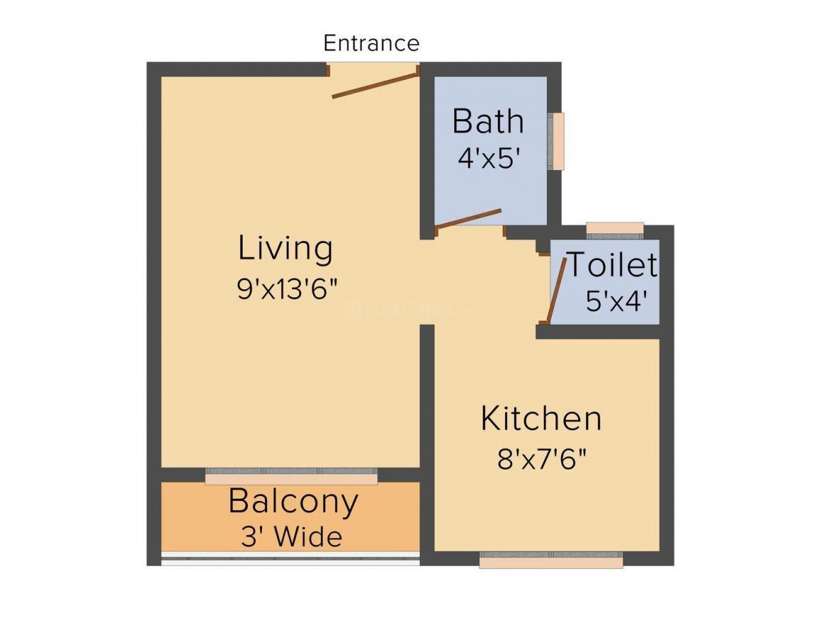 Floor Plan Image of 365.0 - 555.0 Sq.ft 1 RK Studio Apartment for buy in SGK Sai Enclave