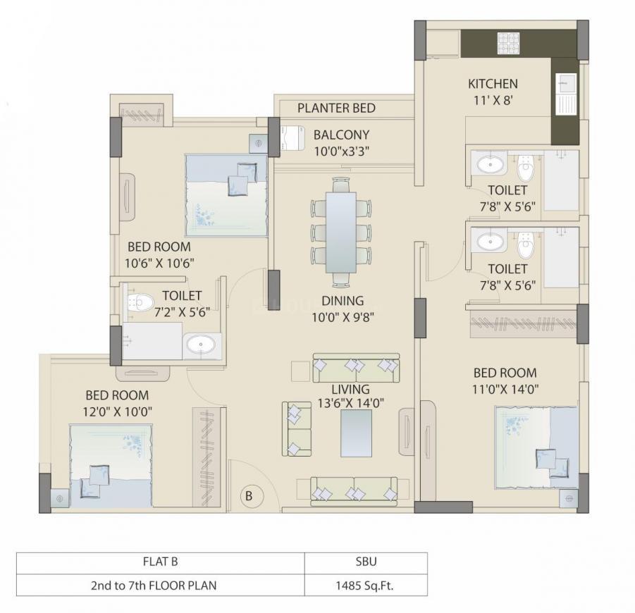 Saltee Splendora Floor Plan: 3 BHK Unit with Built up area of 1485 sq.ft 1