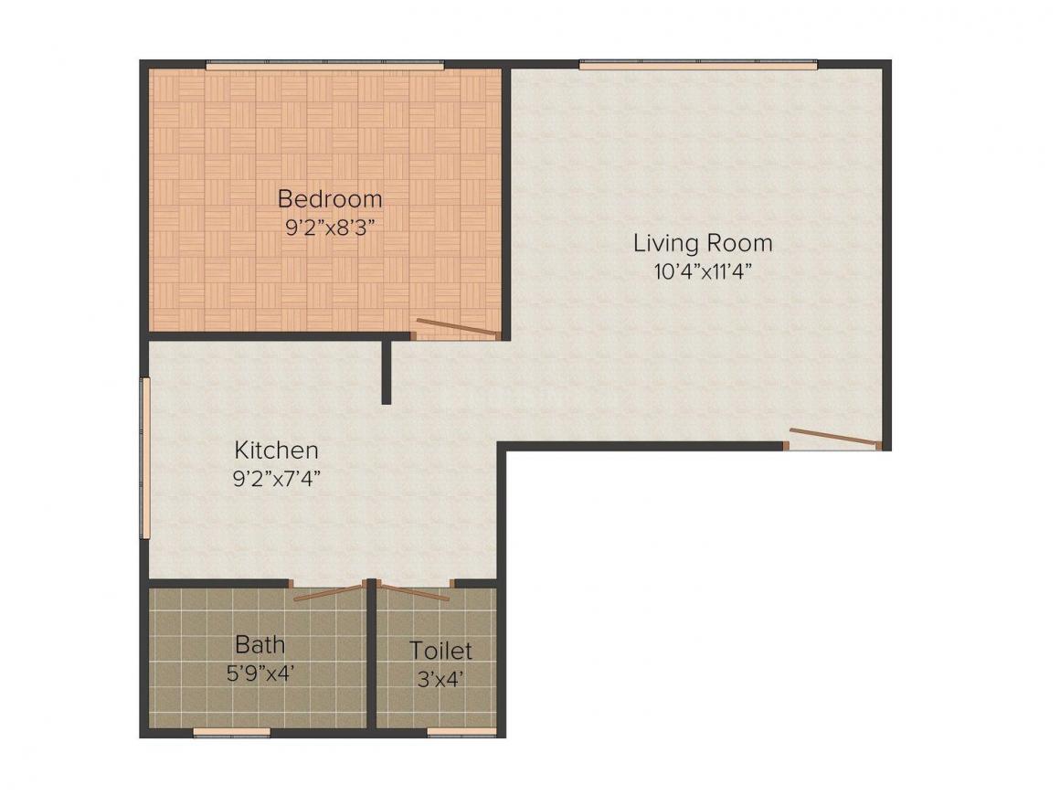 Indra Gayatri Bhuvan Floor Plan: 1 BHK Unit with Built up area of 500 sq.ft 1
