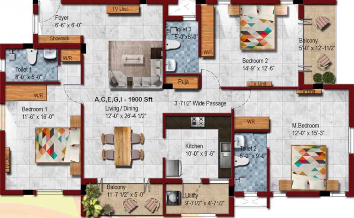 KCee Block 21 P T Rajan Salai Floor Plan: 3 BHK Unit with Built up area of 1900 sq.ft 1
