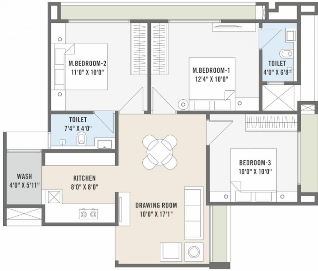 Deep The Crest Floor Plan: 3 BHK Unit with Built up area of 679 sq.ft 1