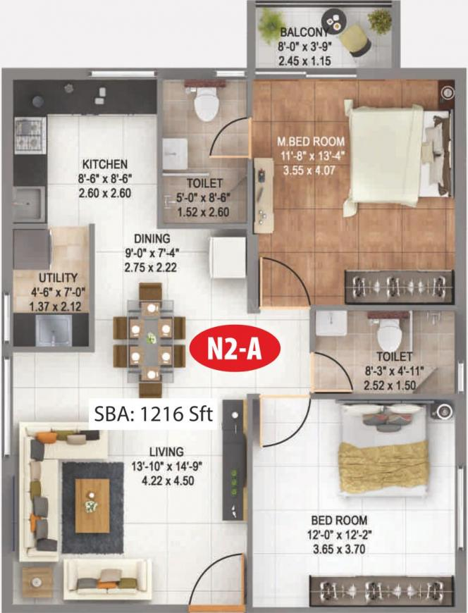 Anand Alpine Floor Plan: 2 BHK Unit with Built up area of 1216 sq.ft 1