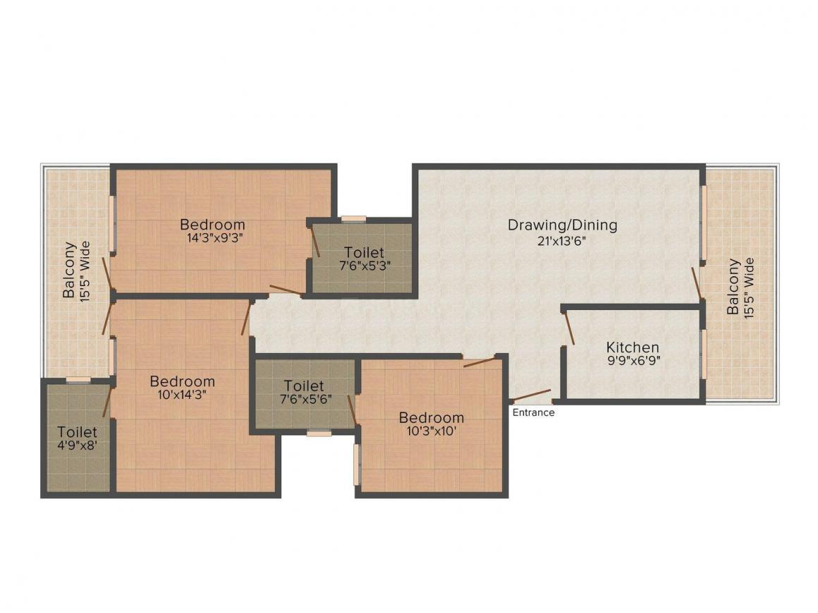 Floor Plan Image of 0 - 1935 Sq.ft 3 BHK Independent Floor for buy in The Home Solutions Floors - 3