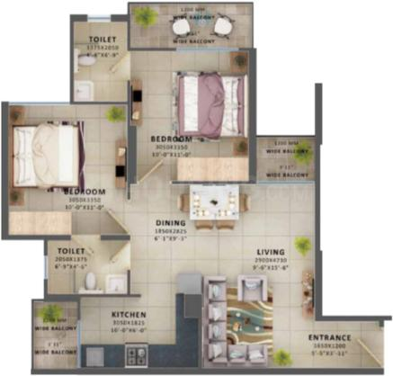 Global Aspire Floor Plan: 2 BHK Unit with Built up area of 669 sq.ft 1