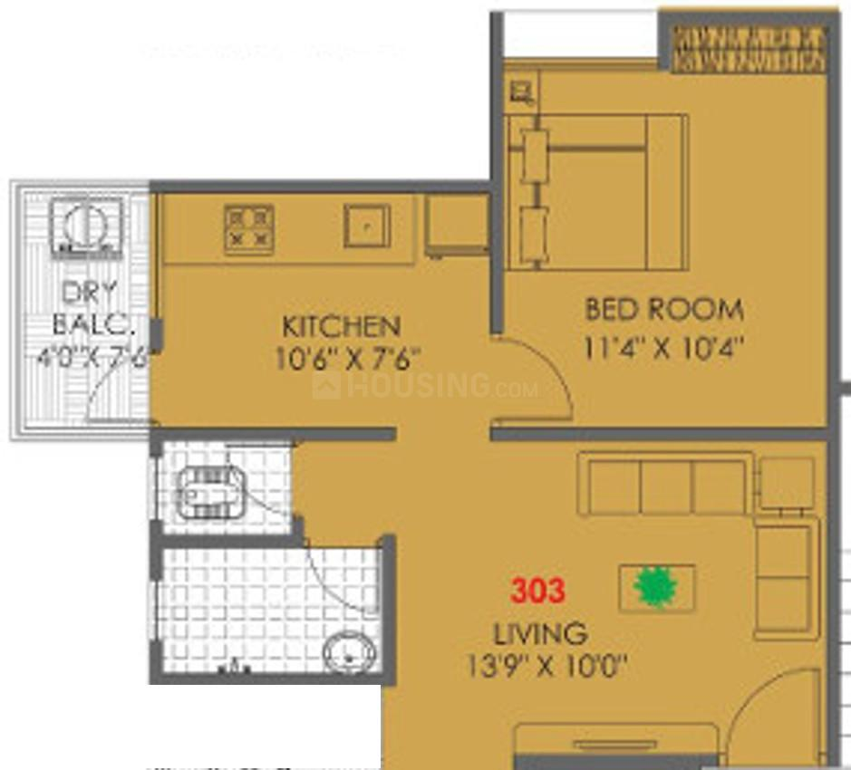 Floor Plan Image of 380.5 - 583.62 Sq.ft 1 BHK Apartment for buy in