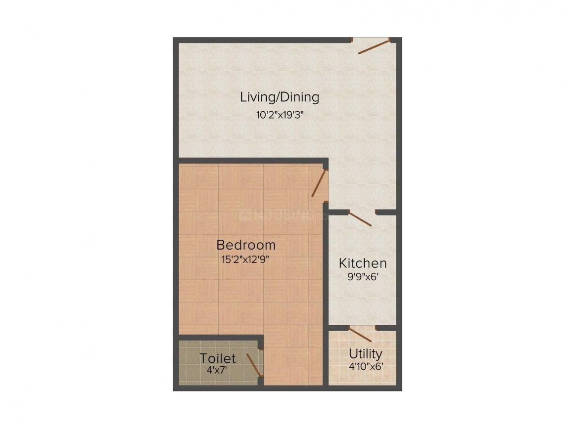 Floor Plan Image of 760.0 - 1200.0 Sq.ft 2 BHK Apartment for buy in Akhil Akshita Residency