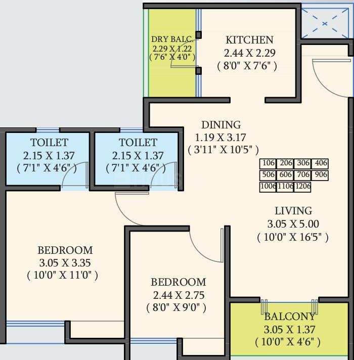 SVG Royal Exotica Phase I Floor Plan: 2 BHK Unit with Built up area of 670 sq.ft 1