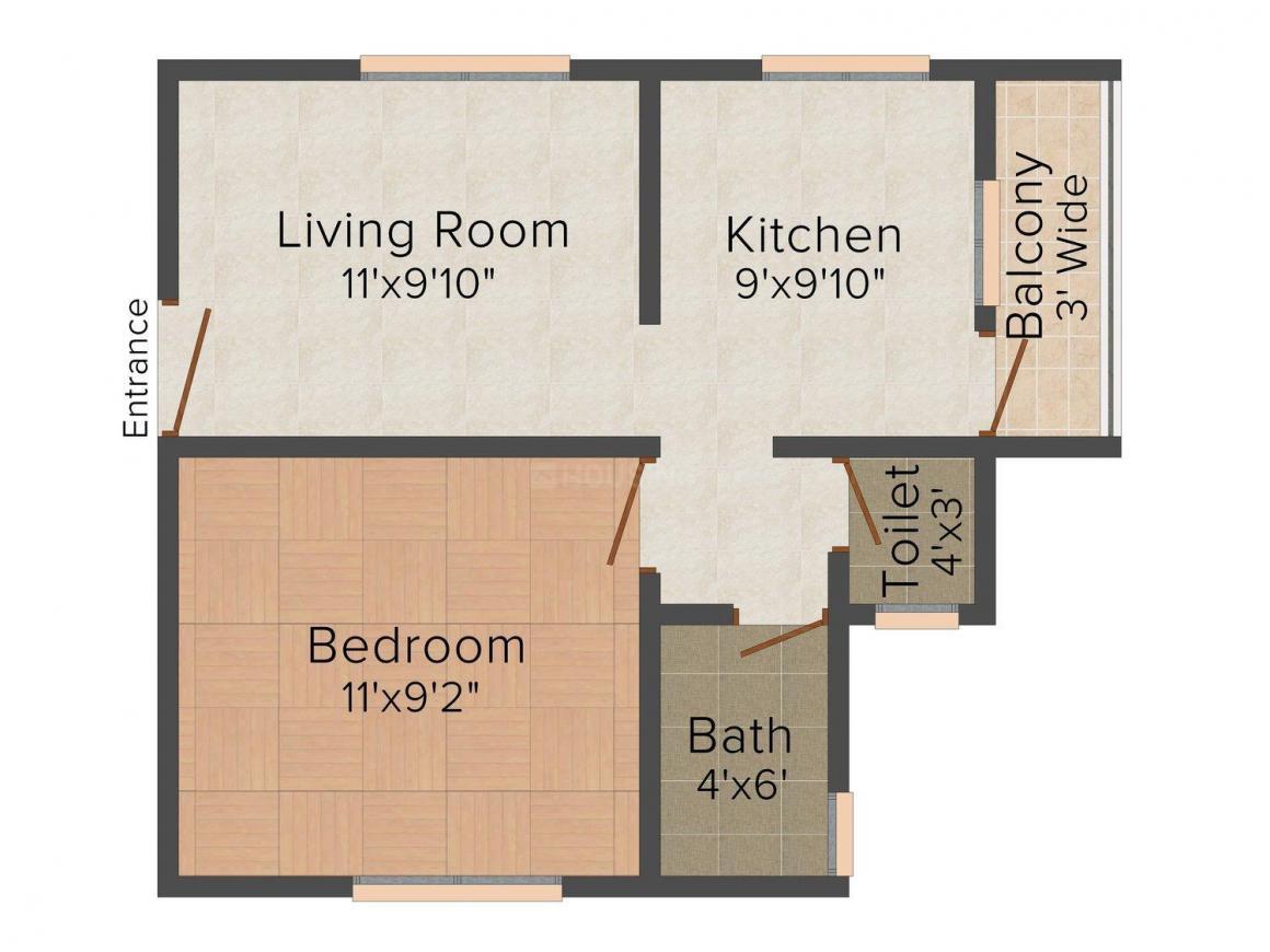 Floor Plan Image of 500.0 - 650.0 Sq.ft 1 BHK Apartment for buy in Sankalp Sai Chaitanya Residency