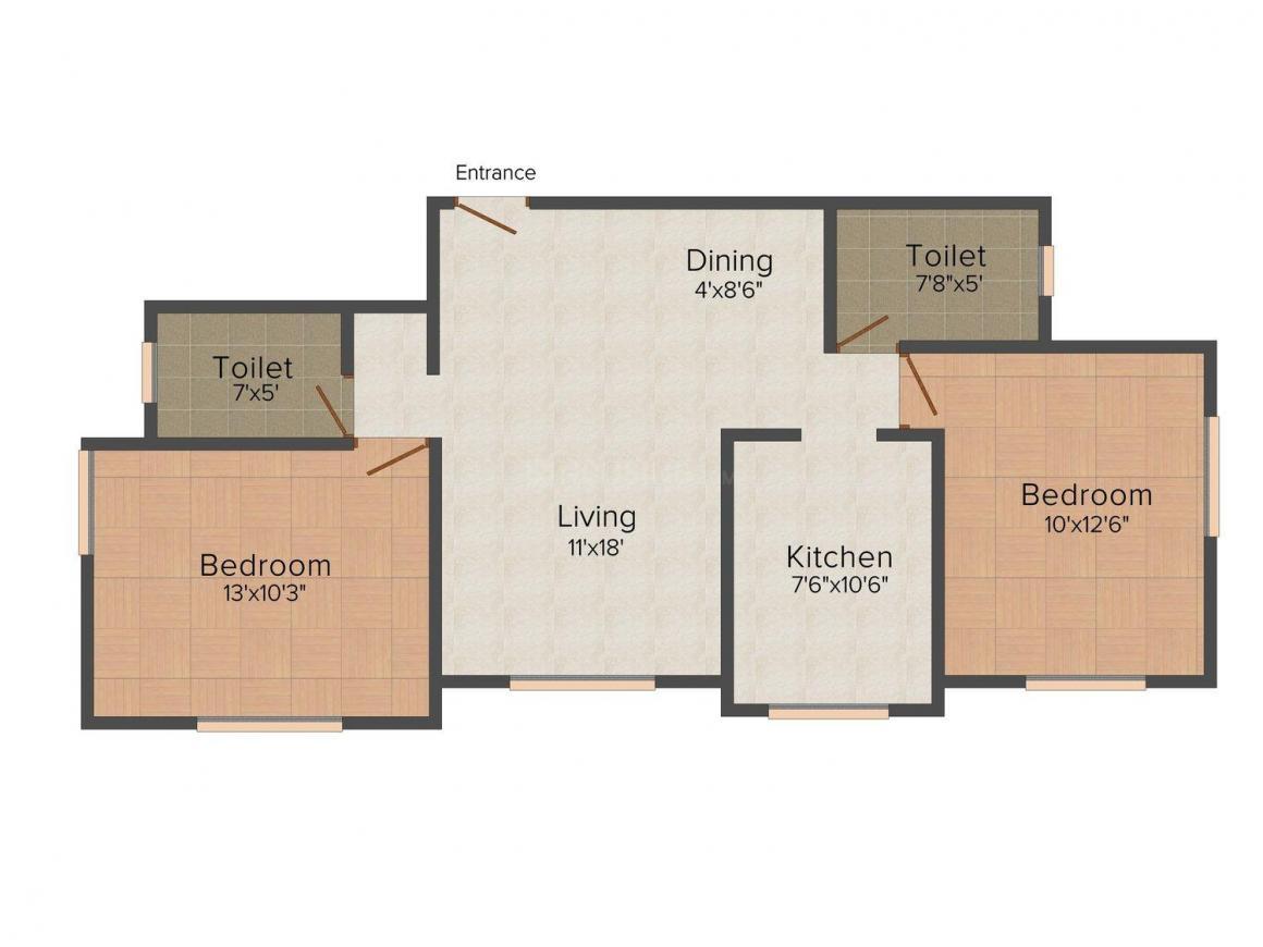 Floor Plan Image of 0 - 1100 Sq.ft 2 BHK Apartment for buy in United Amar Residency