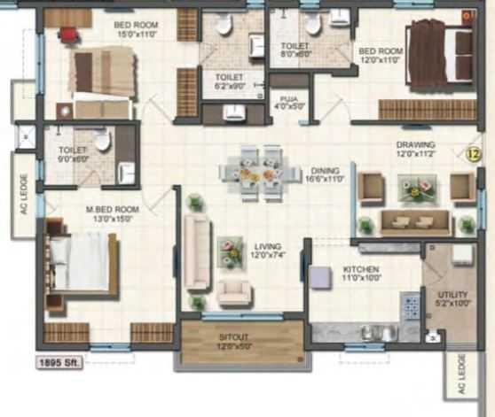 Aparna Oosmans Everest Floor Plan: 3 BHK Unit with Built up area of 1895 sq.ft 1